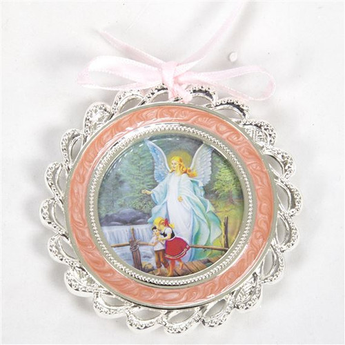 """3"""" Silver-Plated, Mother of Pearl Pink Guardian Angel Crib Medallion 