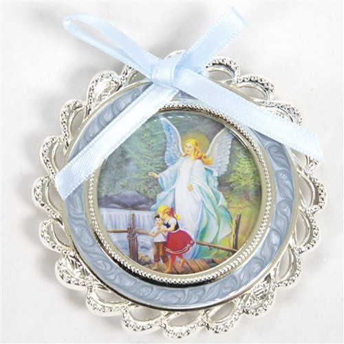 """3"""" Silver-Plated, Mother of Pearl Blue Guardian Angel Crib Medallion 