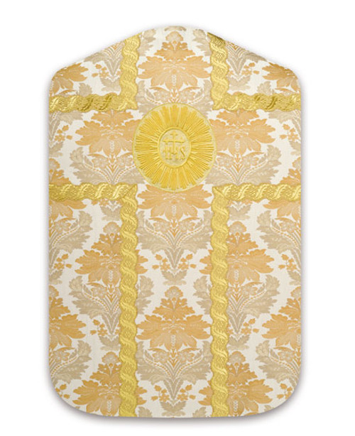 #3990 Traditional Gold Embroidered IHS Roman Fiddleback Chasuble | Polyester Damask