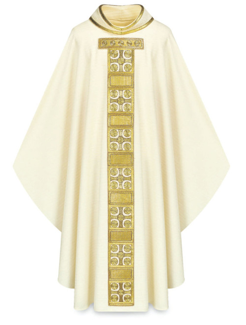 #3569 Hand-Embroidered Cross Motif Celebrants Chasuble | Roll Collar | Wool | All Colors