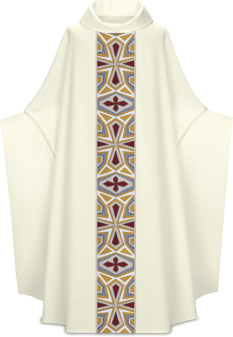 #5328 Handmade Mosaic Cross Monastic Chasuble | Roll Collar | Poly/Viscose | All Colors