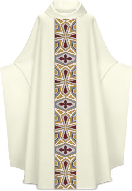 #5328 Handmade Mosaic Cross Monastic Chasuble | Roll Collar | Poly/Viscose | All Colors