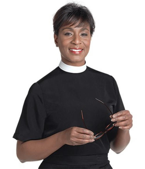 #SW-105 Women's Clergy Shell Blouse | Neckband | Short Sleeve
