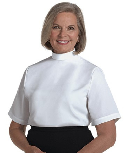 #SW-107 Women's Clergy Shell Blouse | Neckband | Short Sleeve