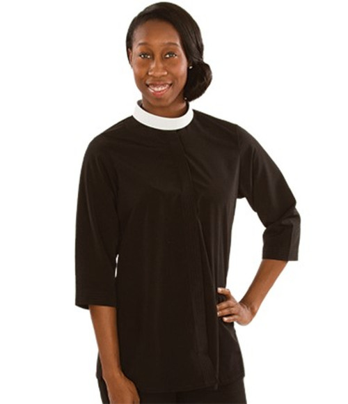 #SW-113 Women's Tunic Clergy Blouse | Neckband | 3/4 Sleeve