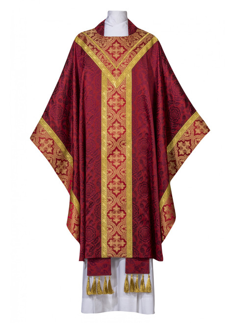 #0915 Exclusive Corbin Collection Celebrants Chasuble | Plain Collar | Lightweight Poly Damask | All Colors