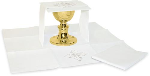 Embroidered Fleur de Lis Motif Altar Linens | Blended Linen | Full Set Only