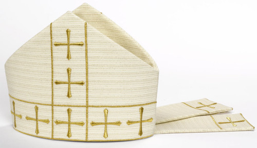 #5089 Embroidered Gold Cross Motif Mitre | Wool | All Colors