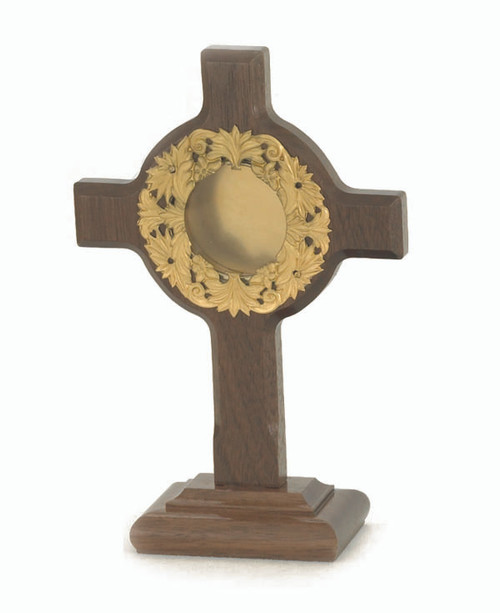#8254 Wood Cross Reliquary | 24K Gold-Plated Accents