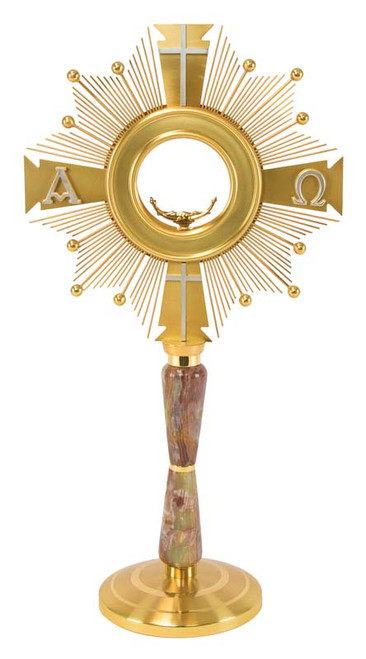#M2014 Alpha-Omega Monstrance | 24K Gold-Plated & Alabaster Stone