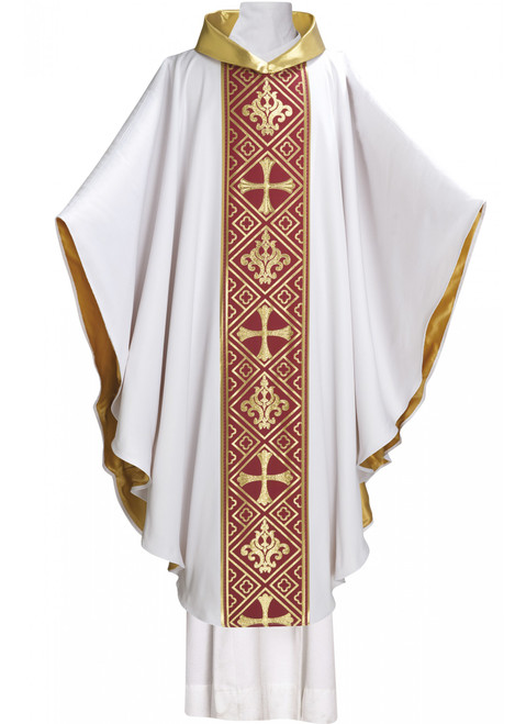#7014 Nice Collection Lined Celebrants Chasuble | Gold Roll Collar | Polyester