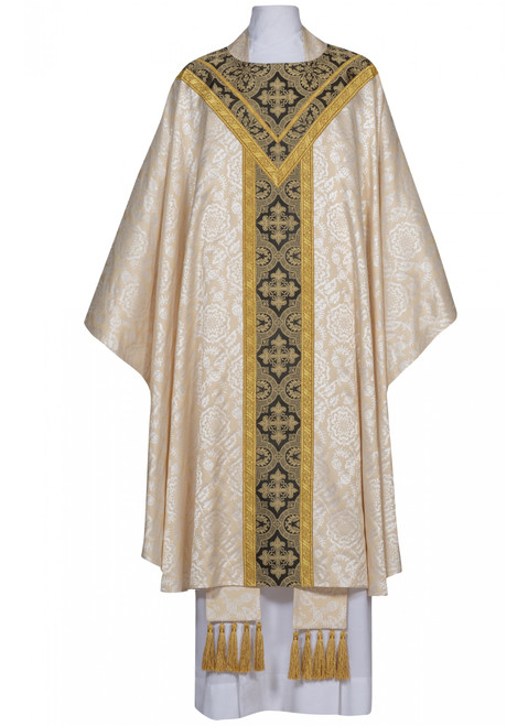 #0815 Corbin Collection Concelebrants Chasuble | Plain Collar | Lightweight Poly Damask | All Colors