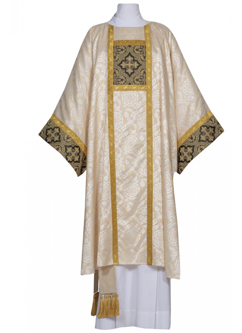 #0815 Corbin Collection Dalmatic | Plain Collar | Lightweight Poly Damask | All Colors