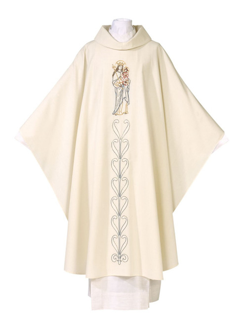 #7700 Embroidered Our Lady Chasuble | Marian Collection | Roll Collar | Poly/Wool
