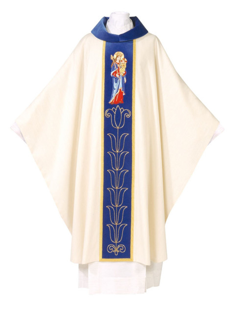 #0700 Hand-embroidered Our Lady Chasuble | Marian Collection | Roll Collar | Wool/Poly