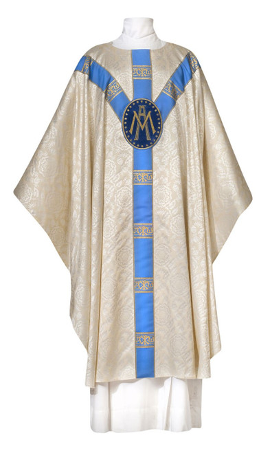 #0925 Ave Maria Lightweight Chasuble | Marian Collection | Plain Collar | Polyester Damask