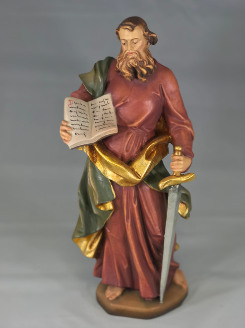 "12"" St. Paul Wood Statue 