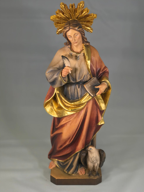 "12"" St. John the Evangelist with Eagle Wood Statue 
