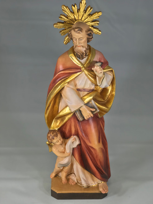 "12"" St. Matthew the Evangelist with Angel Wood Statue 
