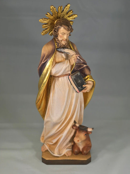 "12"" St. Luke the Evangelist with Ox Wood Statue 