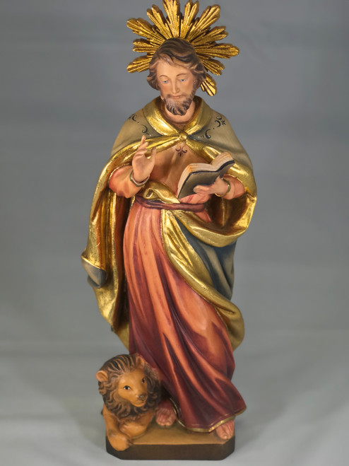 "12"" St. Mark the Evangelist with Lion Wood Statue 