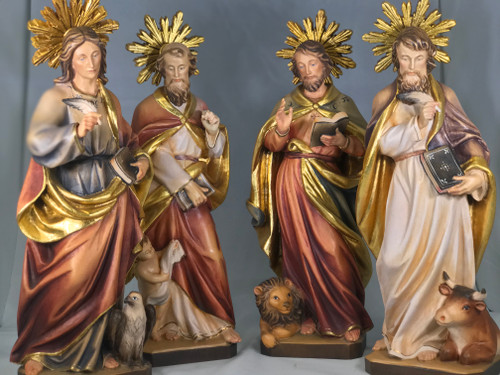 "Set of The Four Evangelist's 12"" Wood Statues 