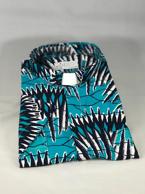 Blue African Wax Print Jak Clergy Shirt | Tab Collar | Short Sleeve | 100% Cotton | Ethically Produced in Benin, Africa