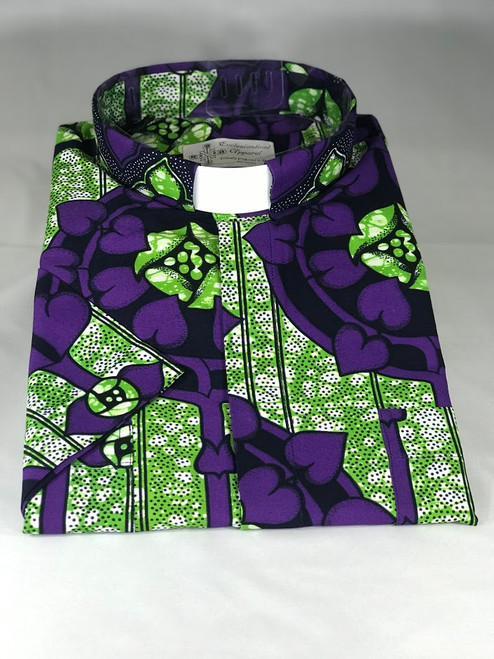 Purple/Green African Wax Print Jak Clergy Shirt | Tab Collar | Short Sleeve | 100% Cotton | Ethically Produced in Benin, Africa