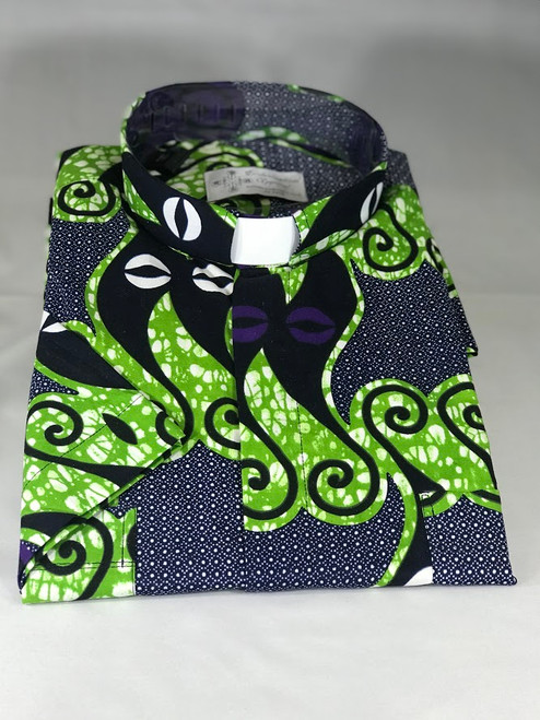 Blue/Green African Wax Print Jak Clergy Shirt | Tab Collar | Short Sleeve | 100% Cotton | Ethically Produced in Benin, Africa