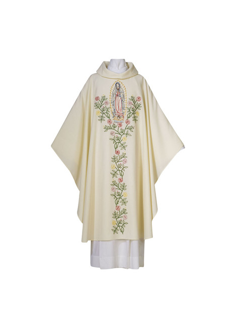 #0134 Hand-embroidered Our Lady of Guadalupe Chasuble | Marian Collection | Roll Collar | Wool/Poly
