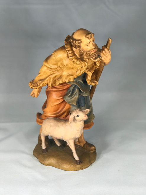 "10"" Shepherd with Sheep Wood Statue 