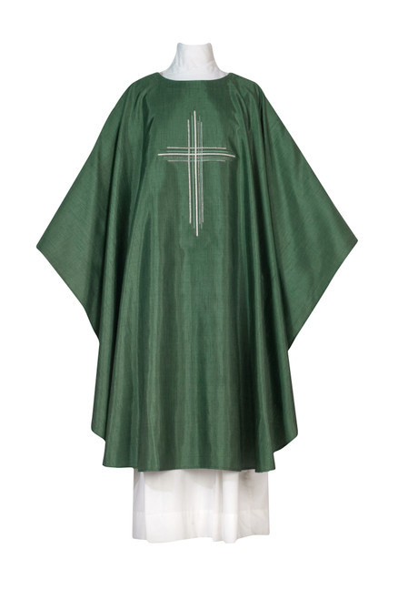 #1262 Damien Embroidered Cross Chasuble | Plain Collar | Poly/Silk | All Colors