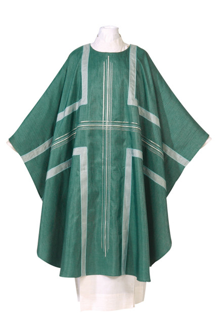 #1237 Damien Large Embroidered Cross Chasuble | Plain Collar | Poly/Silk | All Colors