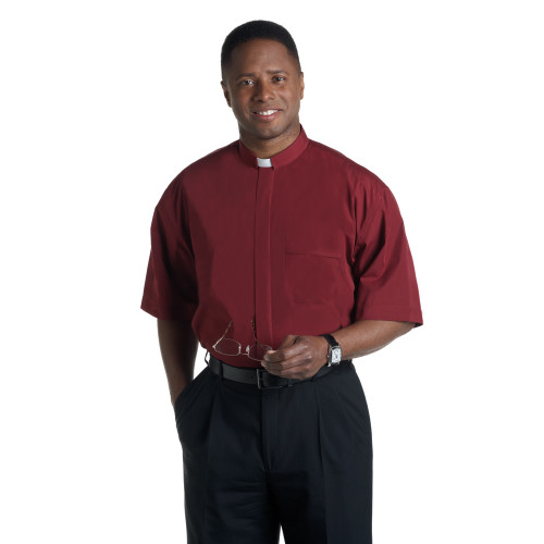 #SM-109 Burgundy Clergy Shirt | Tab Collar | Short Sleeve