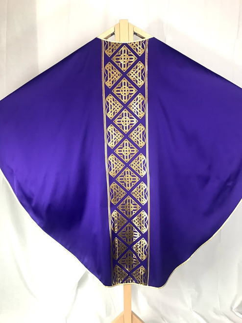 Reversible Gold Braid Gothic Chasuble   Plain Collar   Poly/Acetate   All Colors