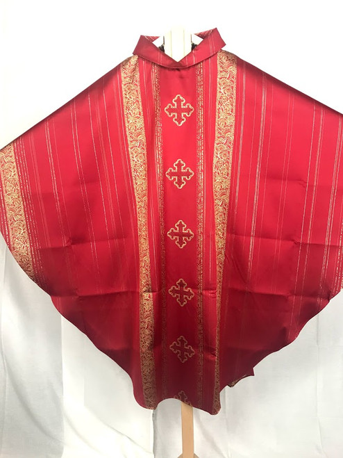 Ornate Gold Cross Gothic Chasuble | Roll Collar | Poly/Acetate | All Colors
