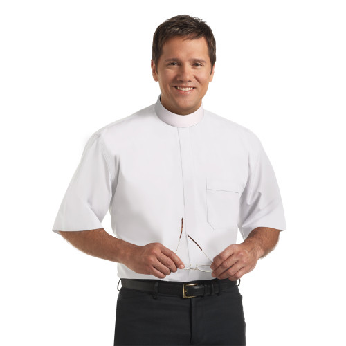 #SM-114 White Clergy Shirt | Banded Collar | Short Sleeve