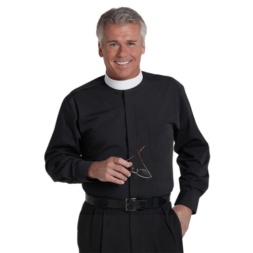 #SM-107 Black Clergy Shirt | Banded Collar | Long Sleeve