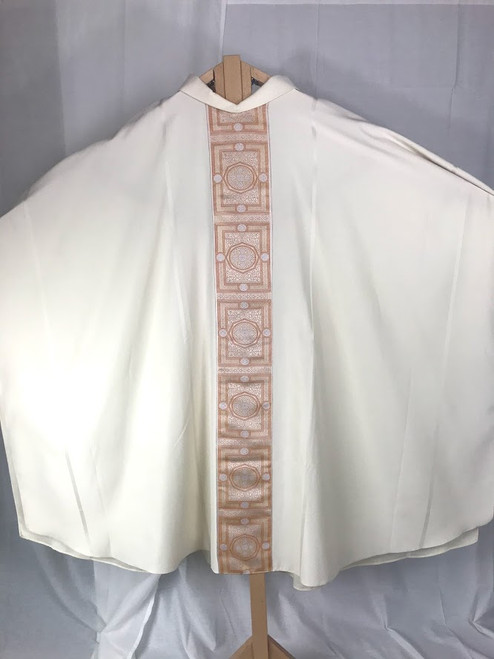Embroidered Gold & Red Ophrey Monastic Chasuble   Roll Collar   Wool   Made in France