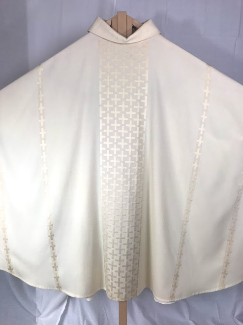 Embroidered Crosses All Saints Monastic Chasuble | Roll Collar | Wool/Poly