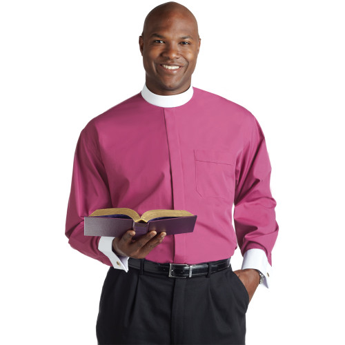 #SM-117 Fuchsia Clergy Shirt | Banded Collar | Long Sleeve French Cuff