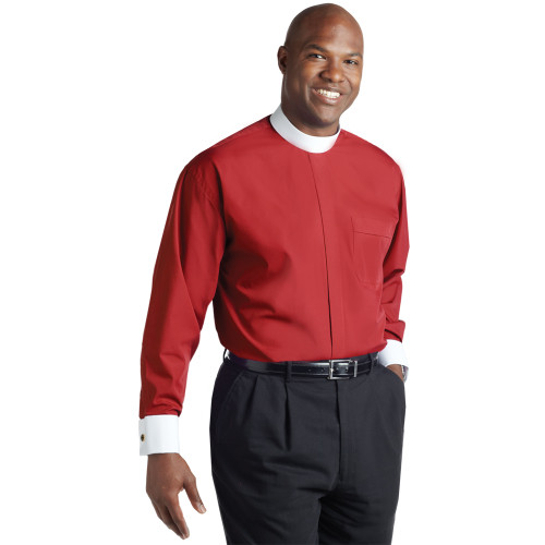 #SM-118 Red Clergy Shirt | Banded Collar | Long Sleeve French Cuff
