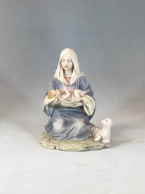 "6.5"" Kneeling Madonna Statue | Resin/Stone"