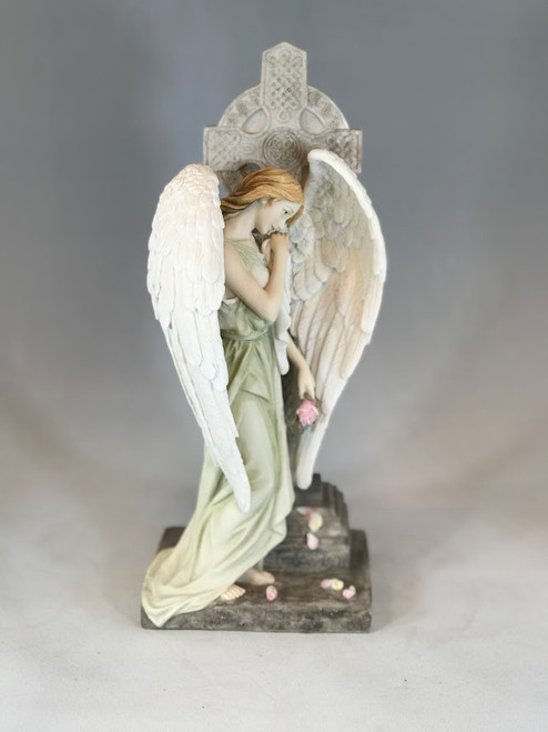 "12"" Mourning Angel with Celtic Cross Statue 