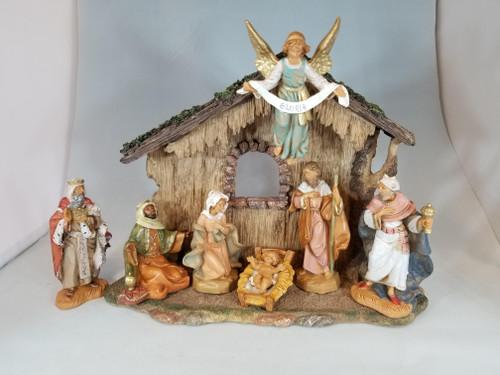 "5"" Italian Fontanini Nativity Full Set | 7 Pieces | Resin Stable"