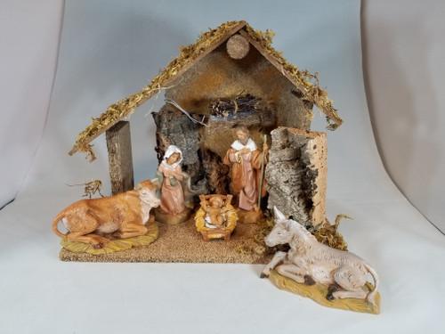 "5"" Italian Fontanini Nativity Full Set | 5 Pieces | Wood Stable"