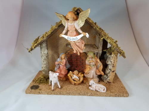 "5"" Italian Fontanini Nativity Full Set | 6 Pieces | Wood Stable"