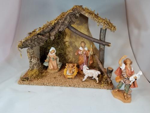 Italian Fontanini Nativity Full Set | 5 Pieces | Wood Stable