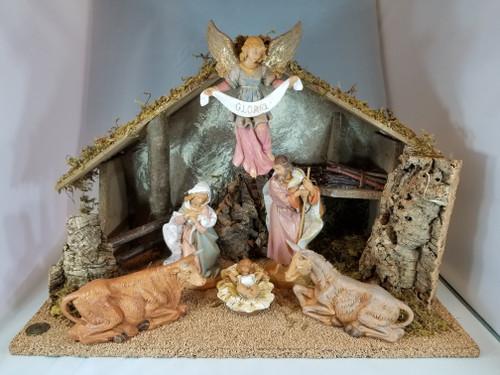 "7.5"" Italian Fontanini Nativity Full Set | 6 Pieces | Wood Stable"