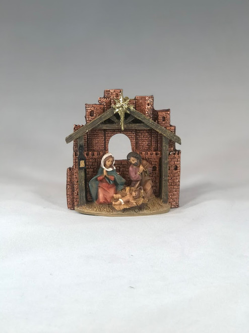 "4.25"" Holy Family Stable Ornament 